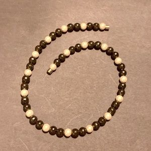 magnetic hematite & faux pearl beaded necklace